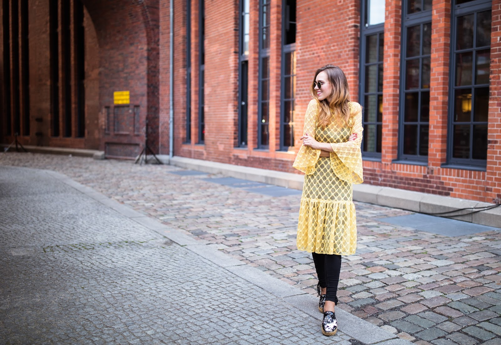 yellow lace dress outfit summer