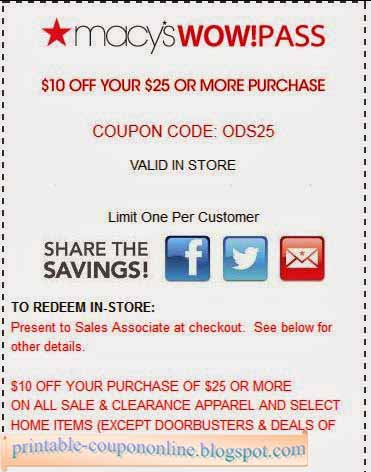 Macy's discount coupons printable