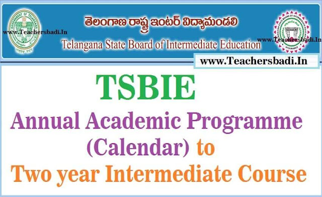 TSBIE,Annual Academic Programme,Calendar,Two year Intermediate Course 2016-2017