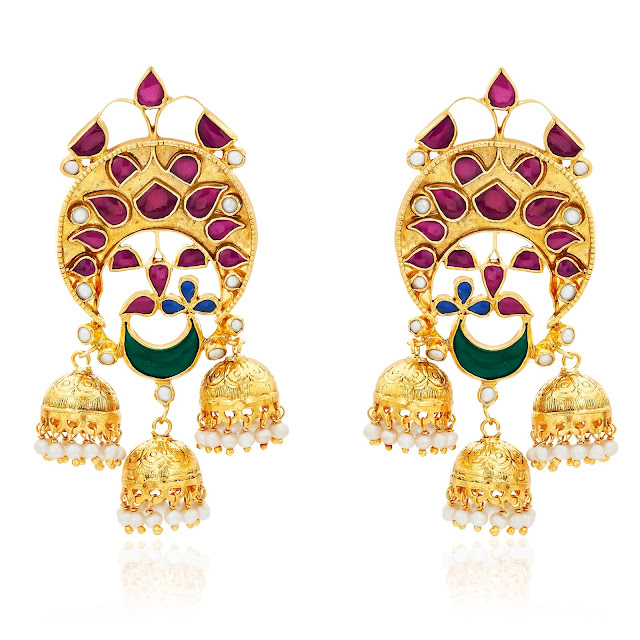 AhilyaJewels.com - MULTI GEMSTONE TRIPLE JHUMKI-