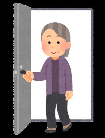 ドアから出てくる人のイラスト(おばあさん)