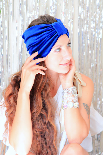 Royal Blue Turban Headband by Mademoiselle Mermaid