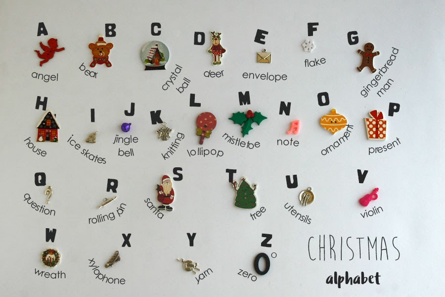 Christmas themed Language objects for ABC Alphabet I spy bag bottle by TomToy