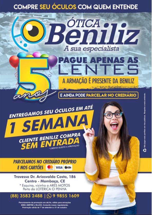 ATENÇÃO MOMBAÇA  O atendimento na Ótica Beniliz será amanhã, quinta ... d98e6f7c33