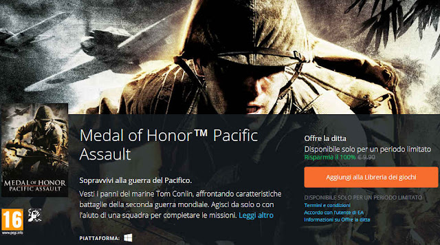 Medal of Honor Pacific Assault locandina Origin Offre la ditta