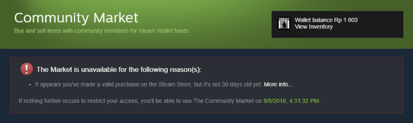 The market is Unavailable di Steam