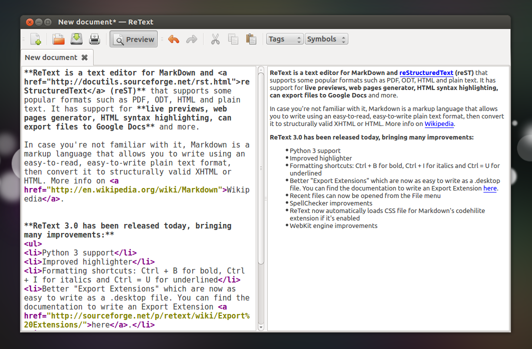 ReText 3 0 Released (Text Editor For Markdown And