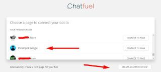 Pilih fanspage Bot Messenger
