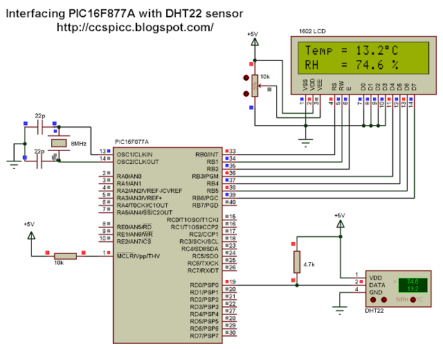 PIC16F877A and DHT22 AM2302 RHT03 Proteus simulation circuit CCS PIC C