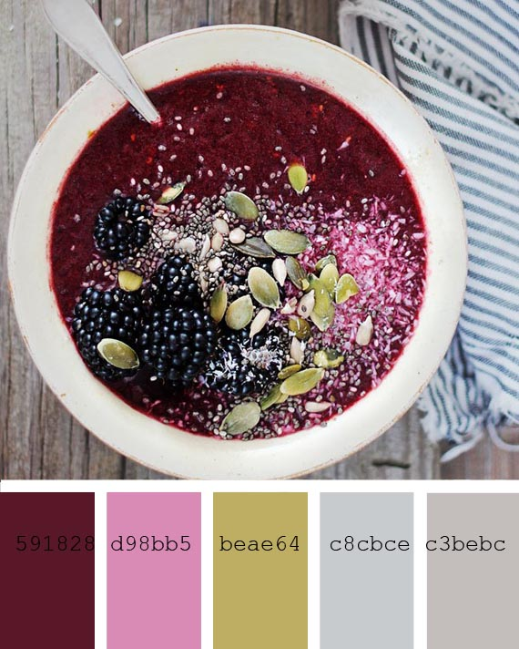 smoothies recipes and color palettes, blackberry and coconut