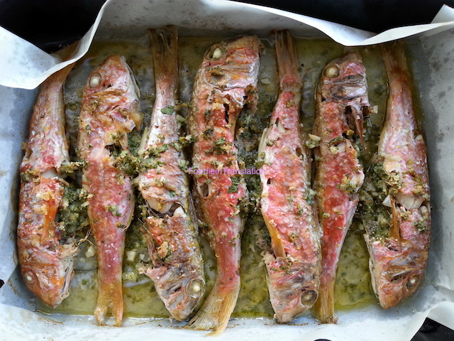 Triglie al forno - Roasted red mullet