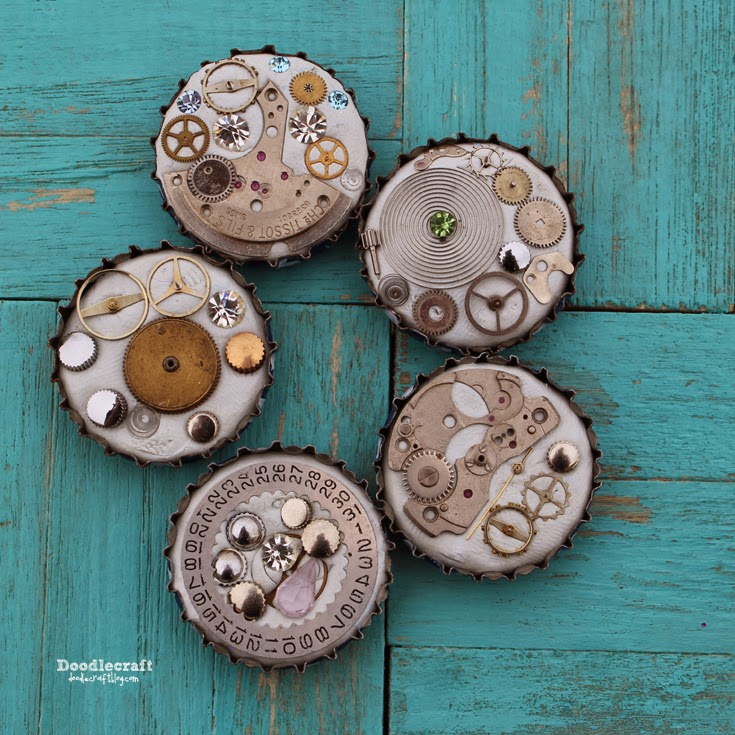 http://www.doodlecraftblog.com/2015/04/steampunk-bottle-cap-magnets.html