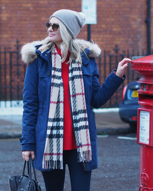 troy London parka, Burberry scarf, Sorel boots