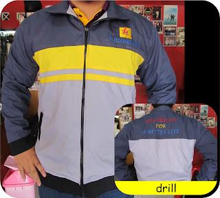 jaket kombinasi bahan drill