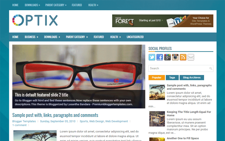 Optix Free Blogger Template
