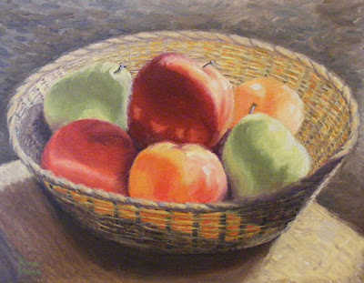 oil painting of fruit in basket, copyright Anne Doane 2016