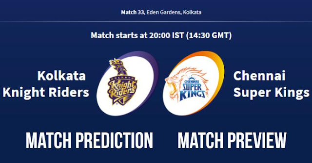 IPL 2018 Match 33 KKR vs CSK Match Prediction, Preview and Head to Head Who Will Win