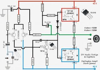 esquema de amplificador 150w