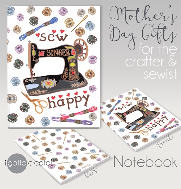 Notebook features vintage sewing machine and notions by I Gotta Create!