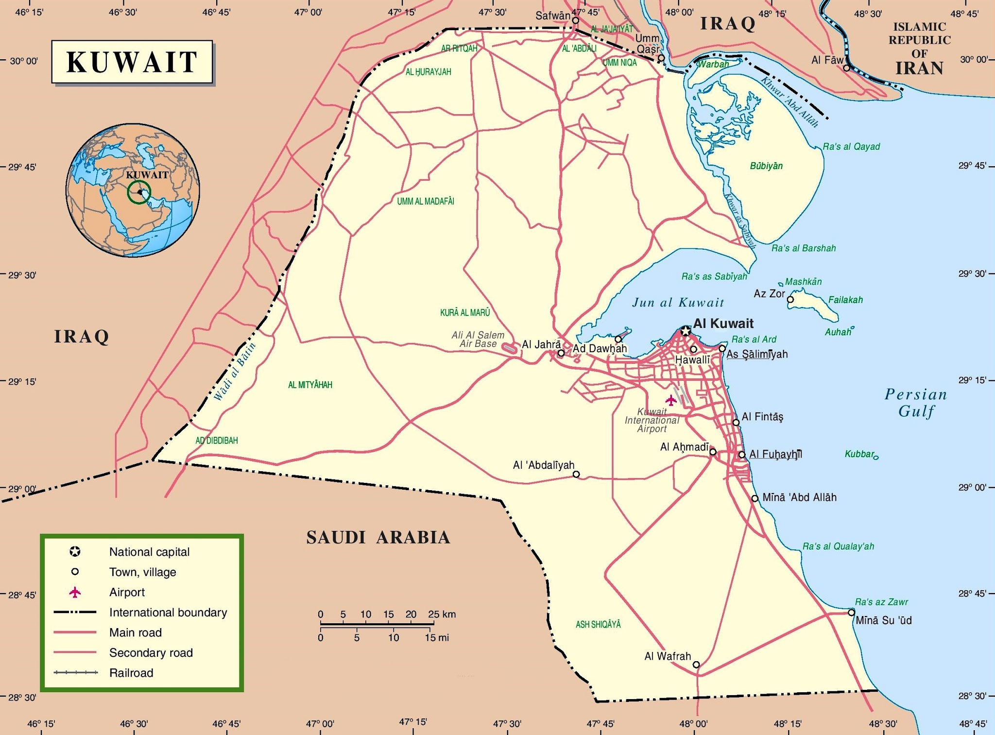 State of Kuwait Map HD World Maps