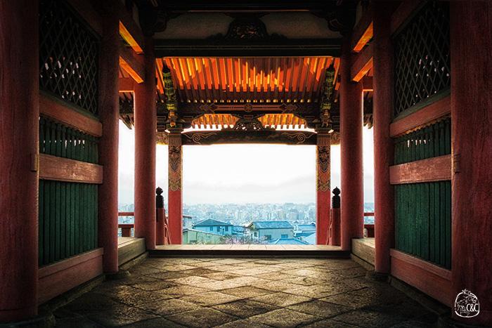 effet tunnel avec vue panoramique de kyoto