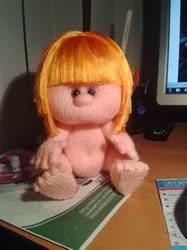 Парик для куклы из атласной ленты