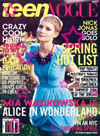 Mia Wasikowska a  Alice do pais das maravilhas, Vogue teen