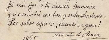 Fragmento de uno de los cinco sonetos que Rosario de Acuña regaló al doctor Albitos