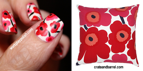 Poppy Flower Nail Art