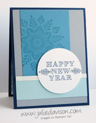 Stampin' Up! Frosted Medallions Happy New Year Card #stampinup www.juliedavison.com