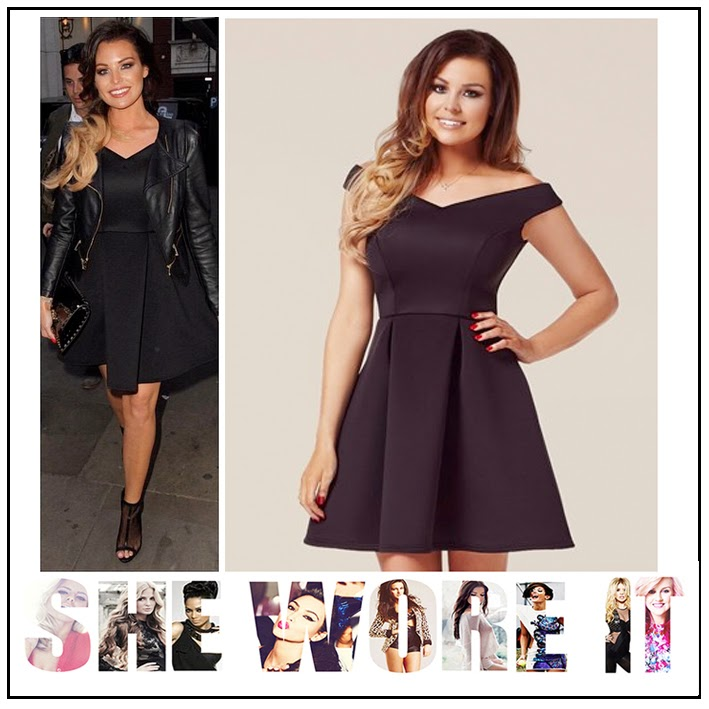 Black, Celebrity Fashion, Dress, High Waisted, Jessica Wright, Lipsy, Off Shoulder, Pleated, Scuba, Skater Dress, Sleeveless, Structured, The Only Way Is Essex, TOWIE, Celebrity Fashion, Celebrity Style,