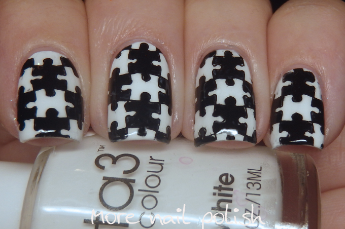31dc2016 Black And White Jigsaw Pieces More Nail Polish