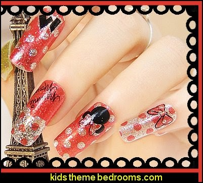 Minnie Mouse Metallic glitter nail polish sticker.Art