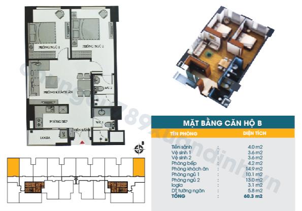 Diện tích căn hộ loại B : 60,30m2