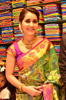 Raashi Khanna in colorful Saree looks stunning at inauguration of South India Shopping Mall at Madinaguda ~  Exclusive Celebrities Galleries 006