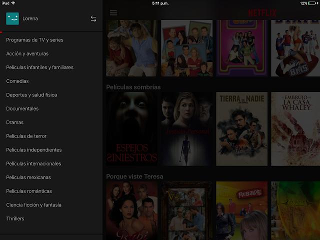 Netflix menu ipad