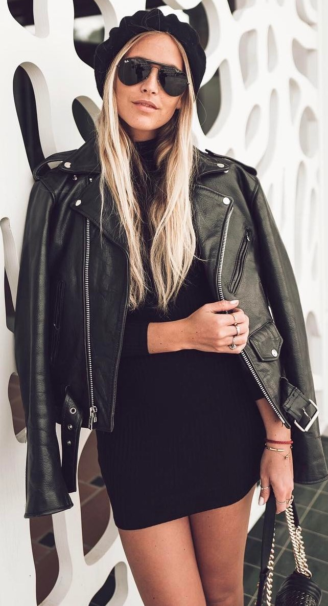 black inspiration: hat +biker jacket + dress + bag