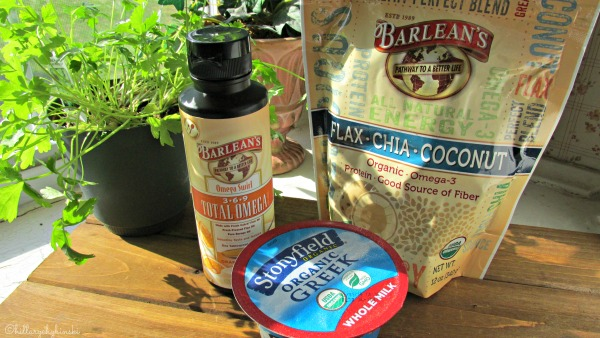 Healthy Breakfast Idea Using Barlean's Products and Stonyfield Yogurt