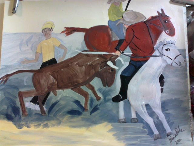 """Bullfight"" sketch in watercolors by Gloria Poole of Missouri"