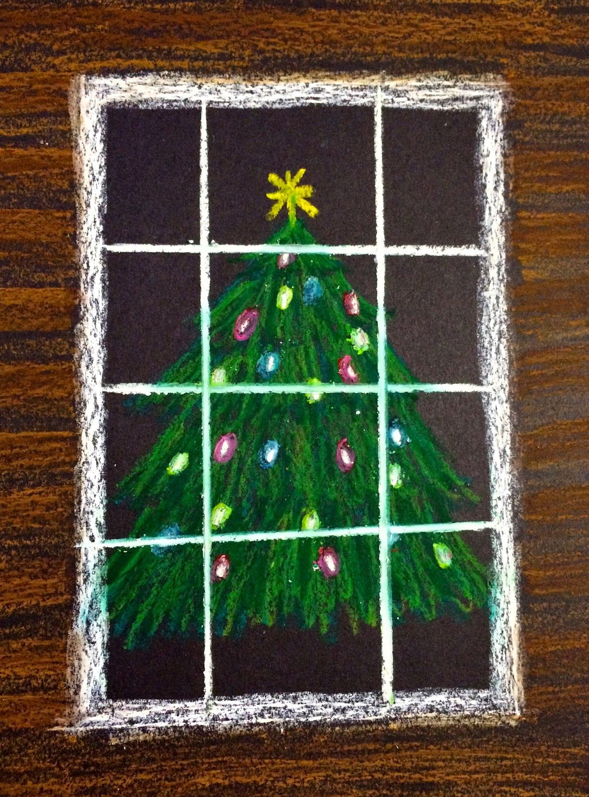 Kathy's Art Project Ideas: Oil Pastel Christmas Tree in a ...