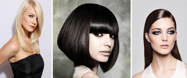 Однородное окрашивание на гладких волосах блондинки и брюнетки