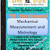 Mechanical Measurement and Metrology PDF Study Materials cum Notes, E-Books Download