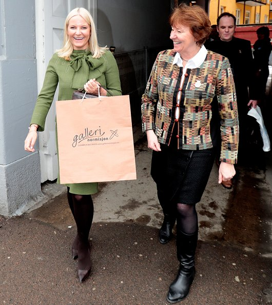 Crown Princess Mette Marit wore Christian Louboutin pumps, attended the opening of the Gallery Normisjon's Pilestredet recycling shop