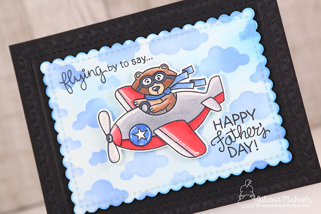 Happy Father's Day Card by Juliana Michaels featuring Newton's Nook Designs Winston Takes Flight Stamp Set, Framework Die Set, and Cloudy Sky Stencil