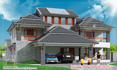 Modern House Elevation - 436 Sq M (4700 Sq. Ft) - January 2012