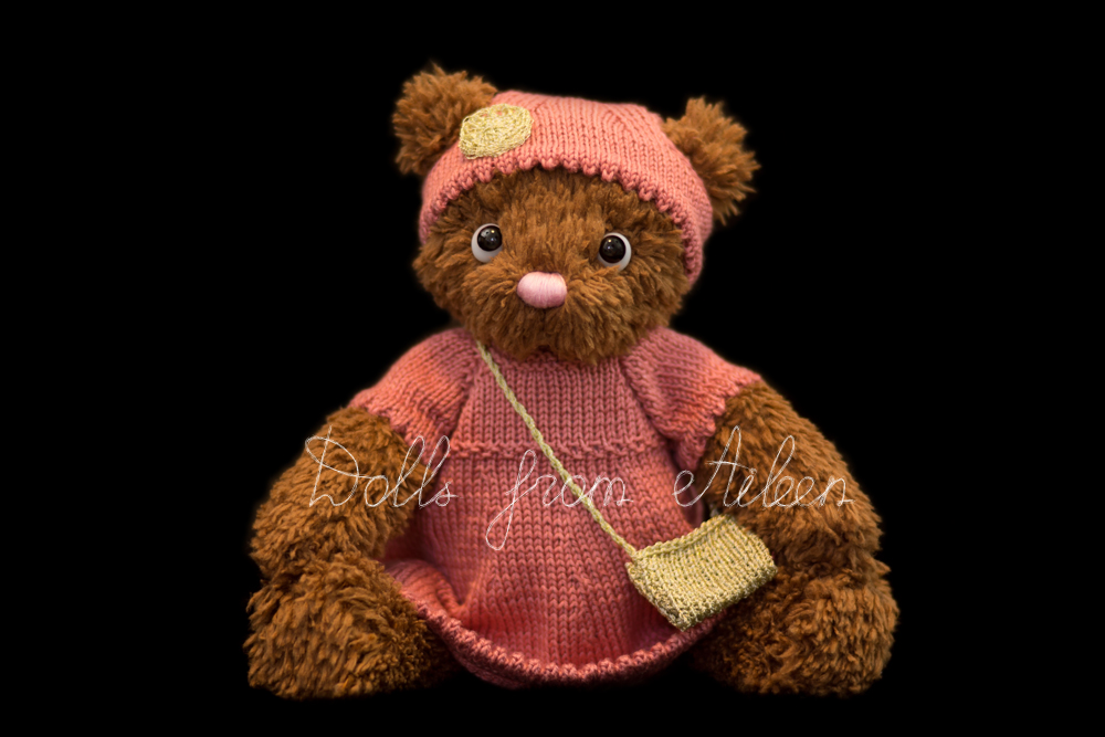 ooak artist teddy bear sitting wearing pink dress