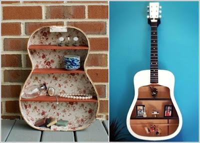 Guitarra reciclada para guardar cosas