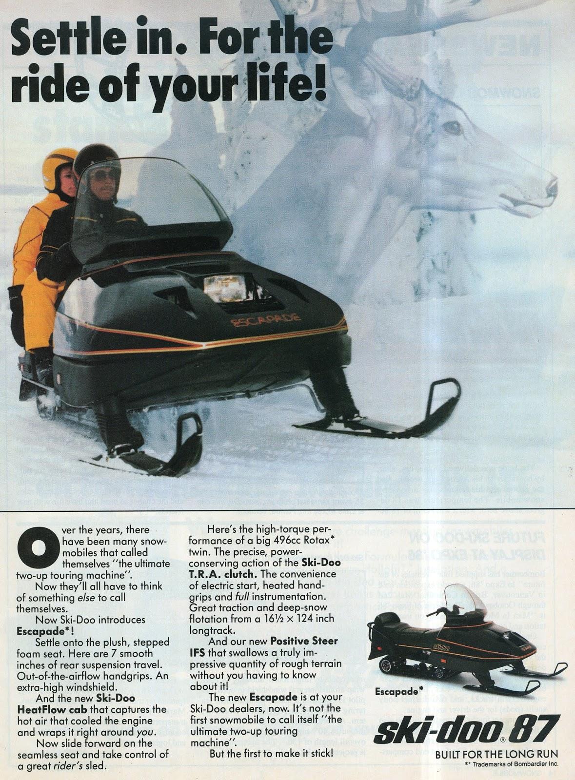 1987 SKI DOO ESCAPADE SNOWMOBILE