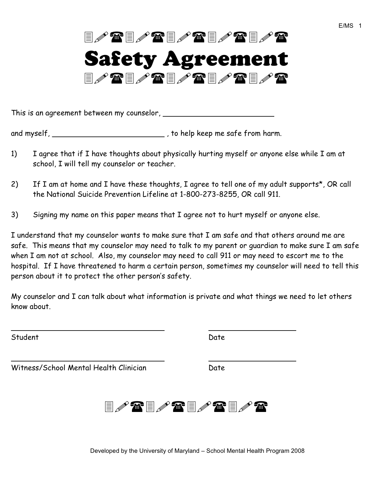 Template for good faith contract free software and for Suicide safety plan template