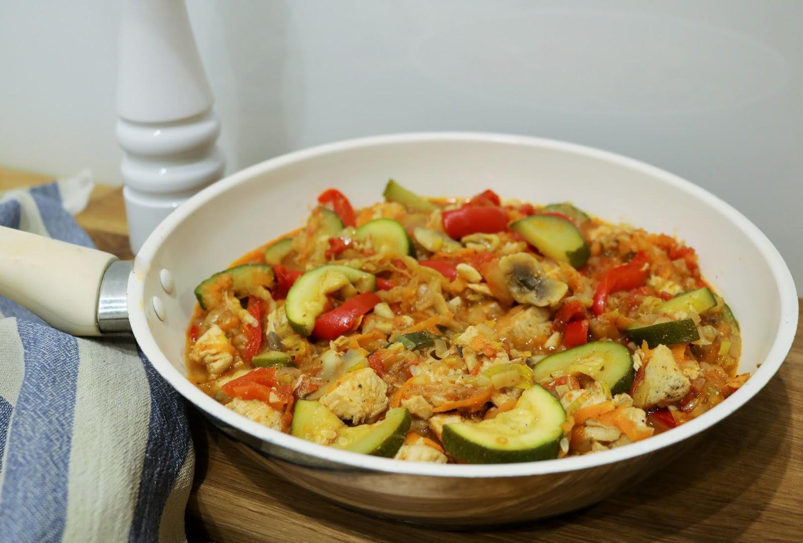 zdrowy obiad z piersią z kurczaka i warzywami